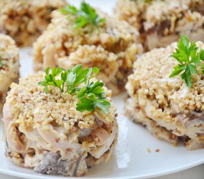 Салат с кальмарами и грецким орехом рецепты с